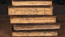 Books at Townend, with titles written on the fore-edges; picture copyright of the National Trust